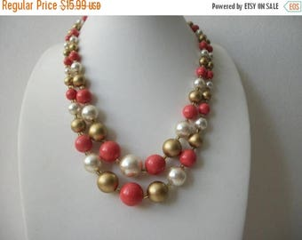 ON SALE Vintage 1940s JAPAN Shorter Length Double Strand Plastic Beads Necklace 72517