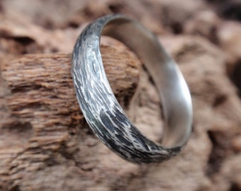 wedding band ring gift for men and women twig rustic jewelry handmade oxidized sterling silver - twig ring 5mm mens jewelry - made to order