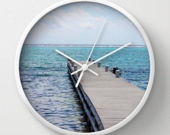 Pier in the Ocean, Photo Wall Clock, Modern Clock, Retro Wall Clock, Home Decor, Round Clock, Beach Clock, Home Accessories,Interior Design