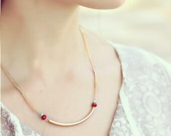 Gold arc pendant, minimalist necklace, Curved Bar Necklace, gold bar necklace, modern jewelry, everyday necklace, Tube Pendant
