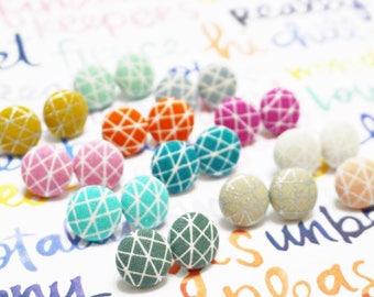 Helix Earrings, Metallic Button Earrings, Small Fabric Studs, Cover Button Jewelry, Nickel-free Earrings, Titanium Jewelry