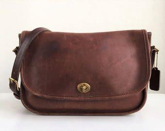 COACH Leather City Brown Crossbody Bag #122
