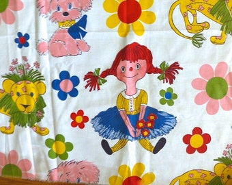 Vintage 1960 to 1970's Raggedy Ann Style Fabric Sold by The Yard