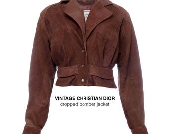 christian dior 90s vintage christian dior leather cropped bomber jacket