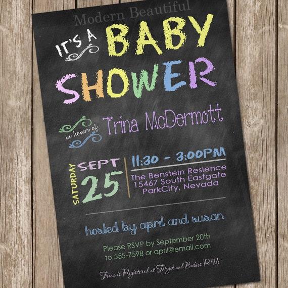 Pastel chalkboard baby shower invitation chalkboard pastel filmwisefo