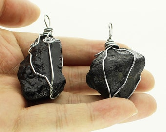 Natural Raw Black Tourmaline Pendant/Wire Wrapped Pendant/Mens Crystal Necklace/Healing Crystal Necklace/DIY Jewelry Making /#DZ-S80316P806