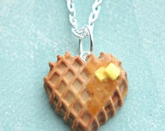 heart waffle necklace- miniature food jewelry, breakfast jewelry