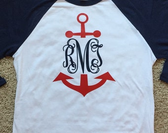 3/4 Sleeve Raglan Tshirt with Anchor Vinyl Monogram