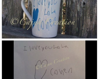 Personalized, customized, Coffee mug, coffee cup, unique coffee mugs, child's handwriting turned into font, handwriting gift, added graphic