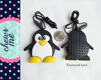 Penguin animal silicone teether teething necklace nursing necklace sensory necklace chew chewelry supply food grade Autism ADHD wholesale