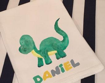 Personalized Dinosaur Brontosaurus White Flour Sack Hand Towel Little Boys Girls Dinosaur Bathroom Hand Towel Birthday Party Favor