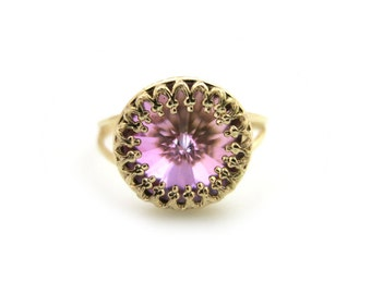 Rainbow Swarovski Ring, Rainbow Crystal Ring, Gold ring, Bridal Ring, Bridesmaid Gift, Thin Gold Ring, Sparkling Ring, Under 30, For Her