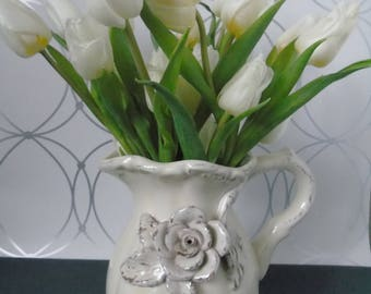 Pitcher Ceramic-ceramic pitcher-ecru-gift-gift-shabby chic decor cozy style boudoir