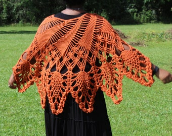 Burnt Orange Handmade Crochet Poncho - Cover Up - Handmade