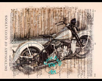 1938 UL Knucklehead White HD Motorcycle Art Beautifully Upcycled Vintage Dictionary Page Book Art Print Drawing Art Print
