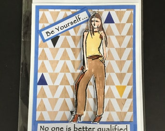 Transgender Encouragement, support greeting card, handmade, hand painted, androgynous teen, positive self image, be yourself, blank card