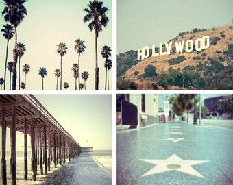 California Photography Print Set, Los Angeles, Large California Wall Art, Hollywood, Palm Trees, Beach Decor, Retro Feel