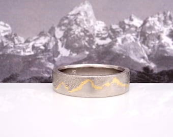 Teton Gold Inlay Mountain Ring, 7mm band, Handmade with Platinum or Palladium with 22k Gold inlay, Platinum Wedding band