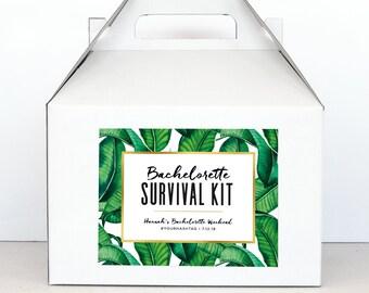 Bachelorette Party Survival Kit Boxes - Hangover Survival Kit - Palm Springs Bachelorette Gable Boxes - Banana Leaf Palm Print Party Decor