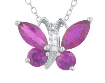 Ruby Butterfly Pendant .925 Sterling Silver