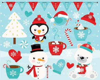 Clipart - Christmas / Winter Time / Snowman - Digital Clip Art (Instant Download)