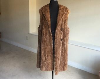 Vintage Brown Mink Vest Coat 1960