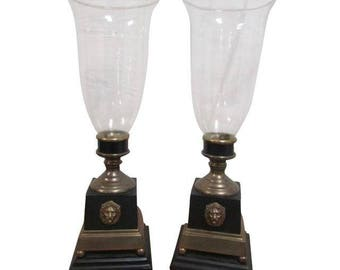 Brass And Glass Hurricane Candle Lamps  A Pair