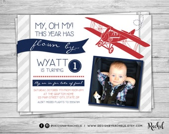 Airplane Birthday Invitation - Airplane Birthday Invite with picture - Airplane Party - Time Has Flown By - Digital File PDF or JPG