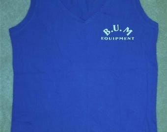 Vintage BUM Equipment Blue V-Neck Tank Top Adult Size Medium