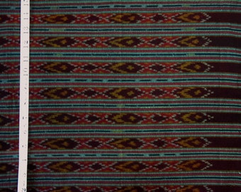 "Thai cotton ikat fabric - Dark red and earth tones -  35 "" wide x 2 yds."