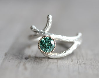 Silver 14K Yellow Gold Branch Engagement Ring Green Moissanite Woodland Tree Crossover Twig White Yellow Teal Unique Bridal - Mossy Bark