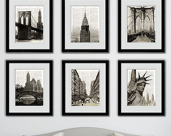 Vintage New York City dictionary art print. Old photos NY Cityscape 6 prints on Vintage Dictionary Paper.Buy 4 get 2 FREE!