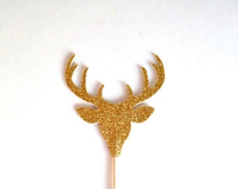 12 Gold Glitter Deer Head With Antlers Cupcake Toppers