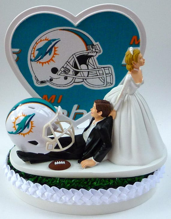 miami dolphin wedding cake toppers wedding cake topper miami dolphins football themed w garter 17330