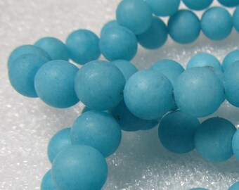 Jade Beads 8mm Aqua Blue Sandblasted Matte Candy Smooth Rounds -  8 inch Strand