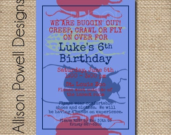 Bugs, Buggy, Creepy Crawly Insects, Reptile Birthday Party Invitation