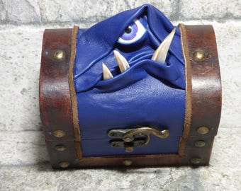 Dice Box Mimic Monster Dungeons And Dragons Magic The Gathering Desk Organizer Trinket Storage Stash Box Blue Leather 249