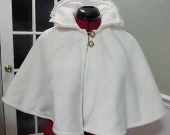 Ivory Victorian Bridal Cape,Ivory Fleece Bridal Capelet,Wedding Cover Up