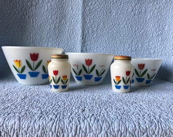 Watt Hand-Painted Tulip Bowl & Shaker Set