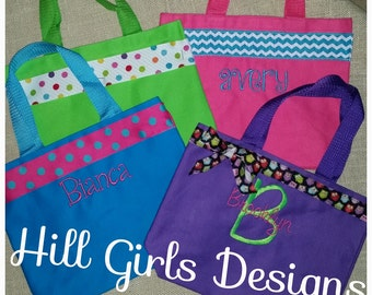 Monogrammed small tote bag with embroidered name or monogram and ribbon trim