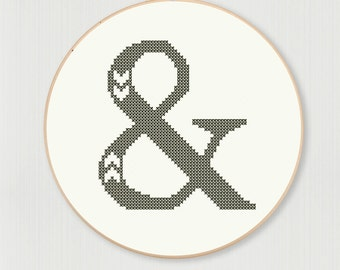 Cross stitch ampersand pattern with chevron accent, instant digital download