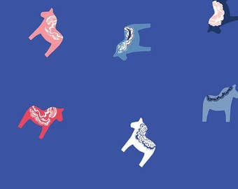 In Blue Dalasterk INB-26639 by Katarina Roccella for AGF Blue and White Dala horse Fabric