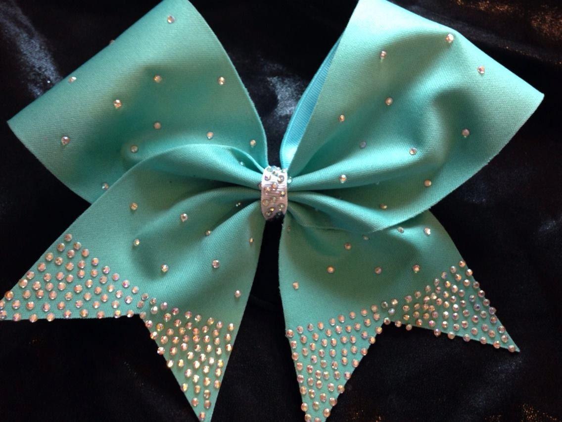 Hair Bow Cheer Rhinestone Blue