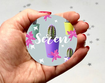 Personalised Pocket Mirror, Cactus Compact Mirror, Cactus  Small Gift,  Mum Gift, Cactus Birthday Gift, Cactus Mirror, Party Favour