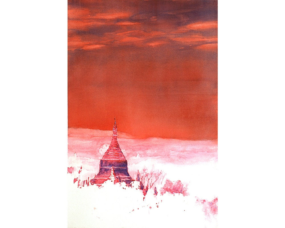 Watercolor painting of ruined Burmese temple at ancient city