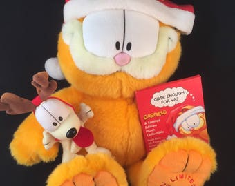 Limited Edition 25th Anniversary Garfiled Christmas Plush Toy, Garfield Collectibles, 25th Anniversary Garfield, Odie and Mini Book