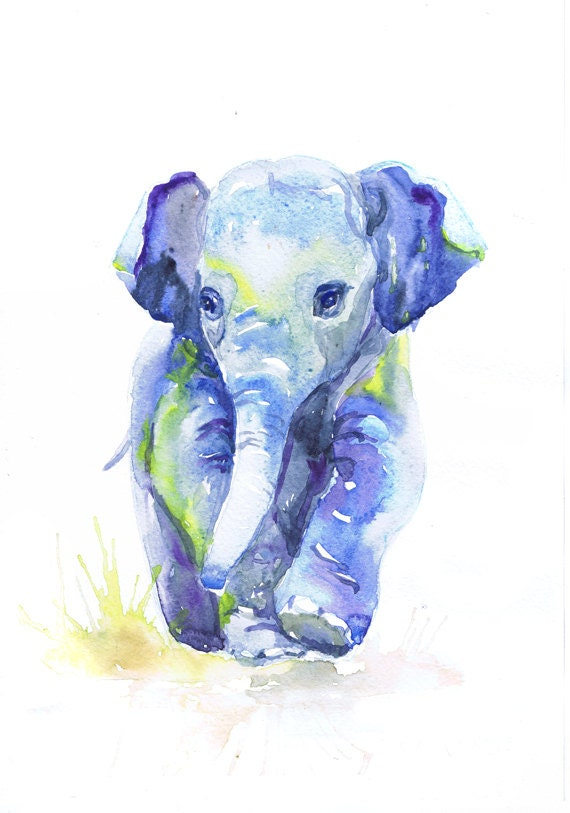 Baby Elephant Art Watercolor Painting Boy Nursery