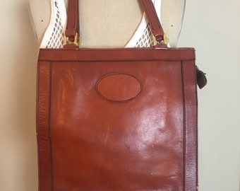 Brown leather tote, leather shoulder bag, vintage leather, womens tote,
