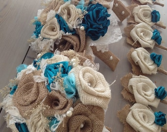Beautiful shabby chic bridal bouquets with turquoise silk and tan burlap(listing is for one bridal bouquet)