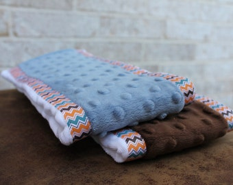 Set of 2 Matching Burp Cloths with Dimple Dot Minky and Coordinating Chevron Grossgrain Ribbon edging Baby Boy Gift